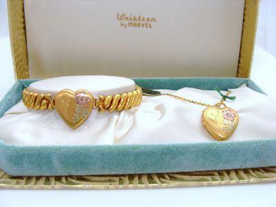 Child's Antique Vintage 12K 12ct Gold GF Sweetheart Locket Bracelet & Locket Pendant Set