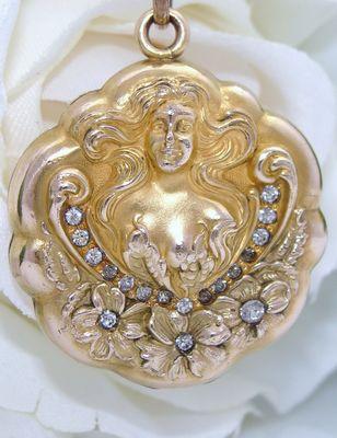 Antique Art Nouveau Gold GF Repousse Locket & Necklace