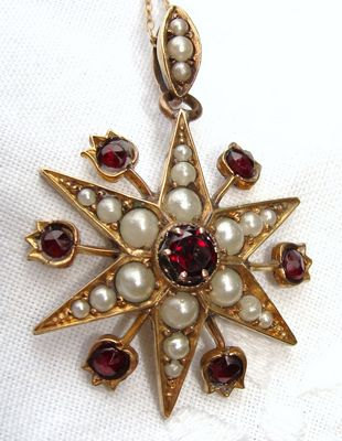 c1870 Antique Victorian Yellow Gold Filled GF Garnet & Pearl Star Burst Pendant with Chain