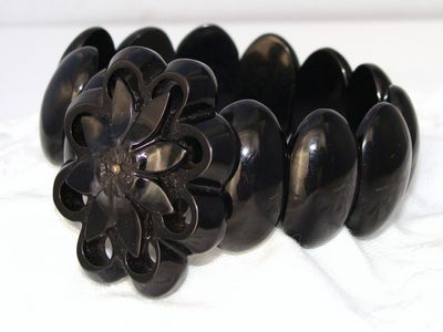 c1880 Antique Victorian Whitby Jet Expansion Bracelet