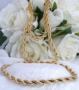 Vintage Antique Vintage 12ct Gold Filled GF ROPE Necklace Bracelet Set