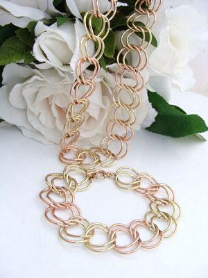 Vintage 12ct ROSE & YELLOW Gold Filled GF Bracelet Necklace SET