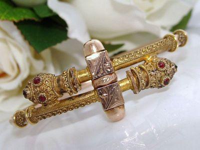Antique Victorian Rose Gold GF Etruscan Bangle Bracelet GARNET