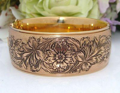 WIDE Antique Vintage DECO 12K 12ct Gold Filled GF Floral Enamel Bangle Bracelet