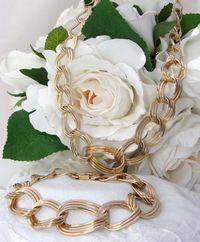 Vintage DECO 12ct Yellow Gold Filled Bracelet & Necklace Demi Parure